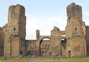 Vista parcial de las ruinas de las termas de Caracalla en Roma.